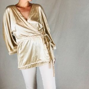New York & Company -  velvety gold wrap blouse